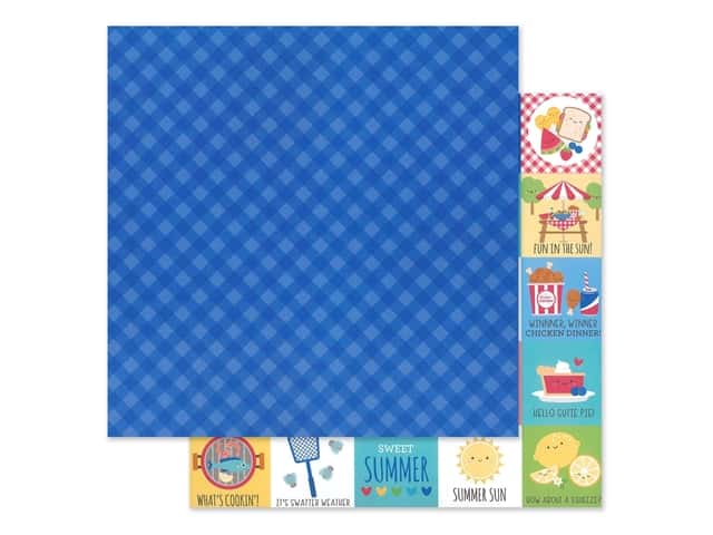 "Doodlebug Collection Bar-B Cute Paper 12""x 12"" Blueberry Plaid"