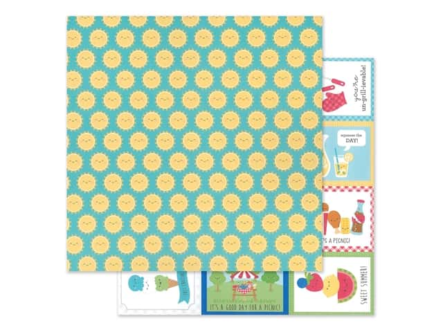 "Doodlebug Collection Bar-B Cute Paper 12""x 12"" Summer Sun"