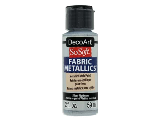 DecoArt SoSoft Fabric Paint 2 oz. #2 Metallic Silver Platinum