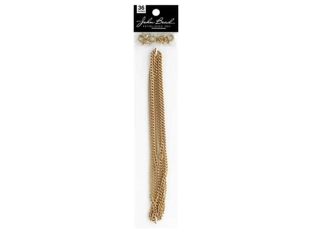 John Bead Chain & Finding Set 3mm Curb Gold