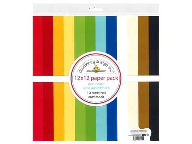 "Doodlebug Collection Bar-B Cute Paper Pack 12""x 12"" Solid"