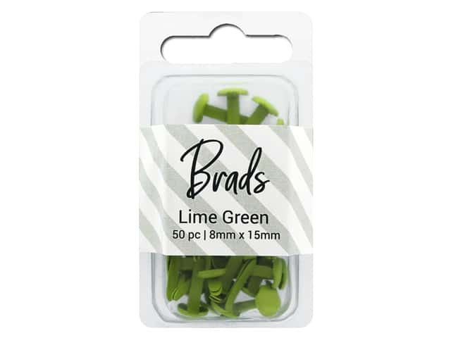 PA Essentials Brads 8 x 15mm 50 pc. Solid Lime Green