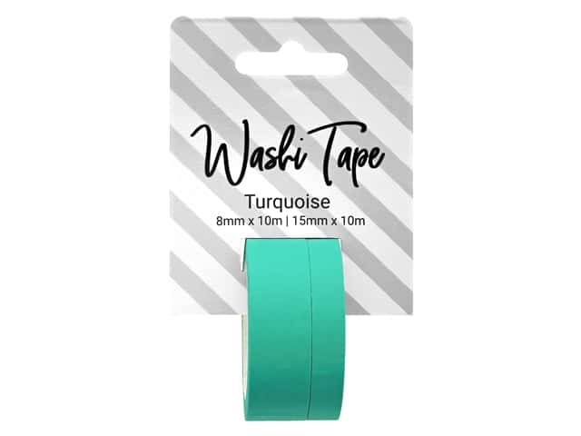 PA Essentials Washi Tape 8 mm & 15 mm x 10 m Solid Turquoise
