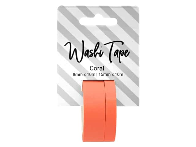PA Essentials Washi Tape 8 mm & 15 mm x 10 m Solid Coral