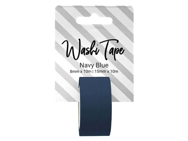 PA Essentials Washi Tape 8 mm & 15 mm x 10 m Solid Navy Blue