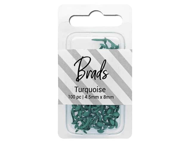 PA Essentials Brads 4.5 x 8 mm 100 pc. Solid Turquoise