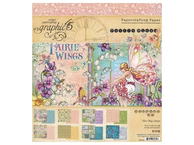 "Graphic 45 Collection Fairie Wings Paper Pad 8""x 8"""