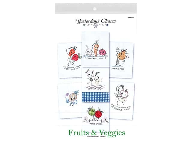 Yesterday's Charm Iron-On Embroidery Transfer - Fruits & Veggies