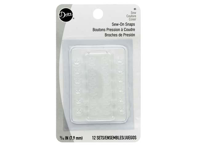 Dritz Sew On Snaps 5/16in. Nylon Clear 12 pc.