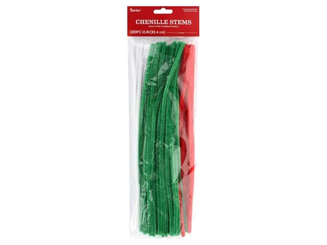 """Darice Chenille Stems 6mm 12"""" Christmas Assorted 100pc"""