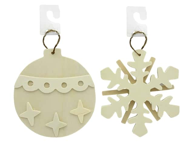Darice Wood Unfinished Ornament Assorted Snowflake & Bulb