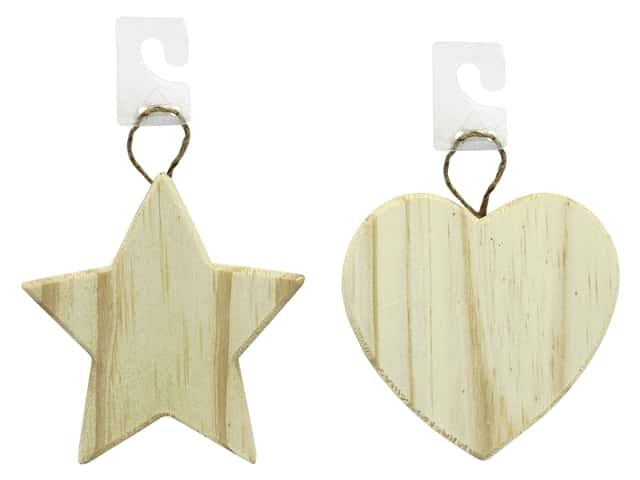 Darice Wood Unfinished Ornament Assorted Star & Heart