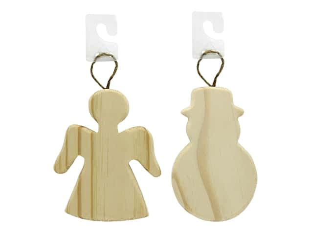 Darice Wood Unfinished Ornament Assorted Angel & Snowman