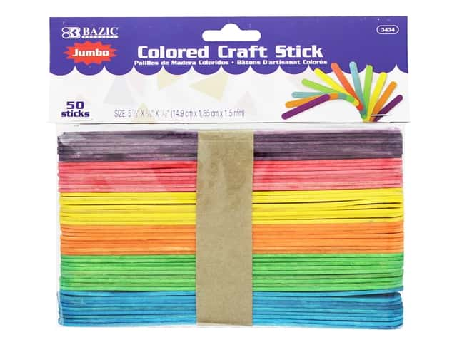 Bazic Craft Sticks Jumbo Assorted 50pc