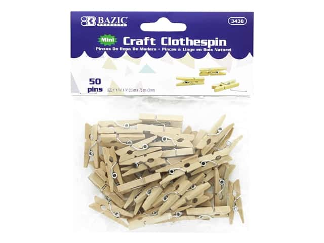 Bazic Craft Clothespin Mini 50pc Natural