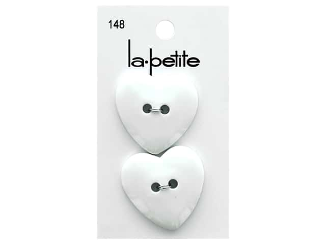 LaPetite 2 Hole Buttons 1 1/4 in. White Heart #148 2 pc.