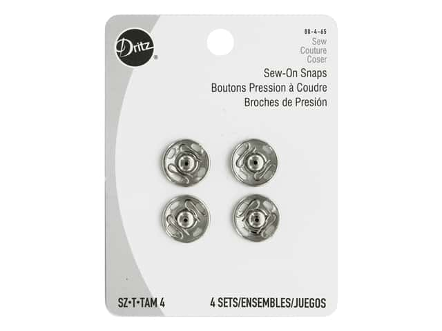 Dritz Sew-On Snaps Size 4 Nickel 4 pc.