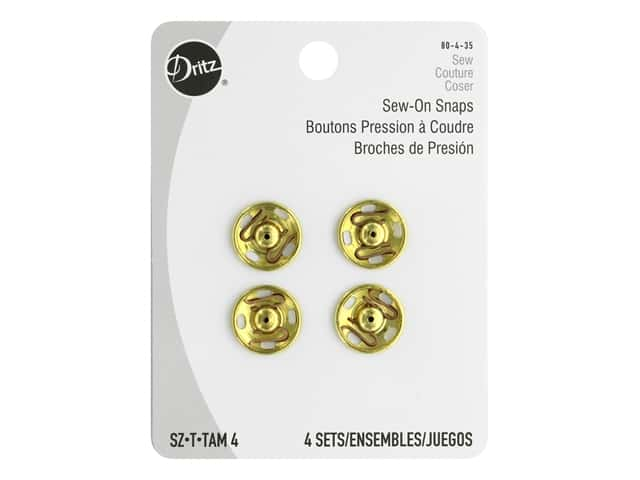 Dritz Sew-On Snaps Size 4 Gilt 4 pc.