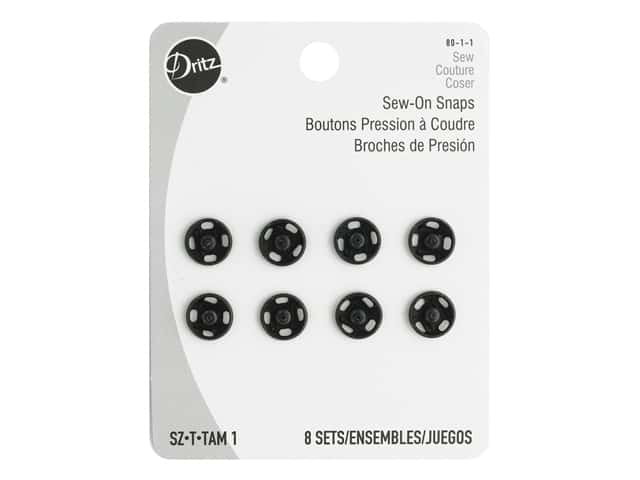 Dritz Sew-On Snaps Size 1 Black 8 pc.