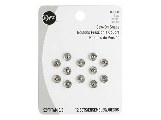 Dritz Sew-On Snaps Size 3/0 Nickel 12 pc.