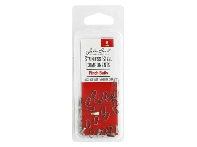 John Bead Findings Stainless Steel Pinch Bail 6mm 30pc