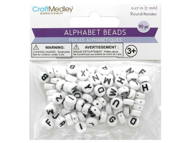 Multicraft Bead Alpha White With Black Letters 90pc