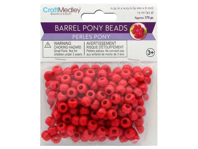 Multicraft Bead Pony 9mm x 6mm Barrel Red 1.5oz