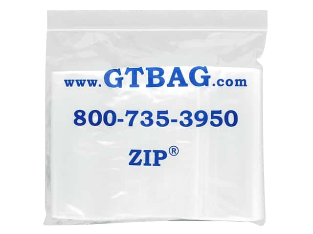 "G.T.Zip Bags Plain 2mil Acid Free 100pc 5""x 7"""