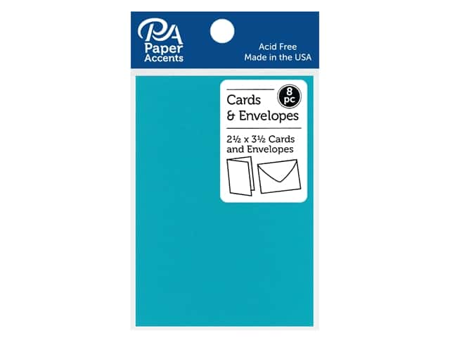 "Paper Accents Card & Envelopes 2.5""x 3.5"" Smooth 65# 8pc Sea Blue"