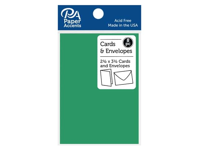 Paper Accents Blank Card & Envelopes - 2 1/2 x 3 1/2 in. - Green Grass 8 pc.