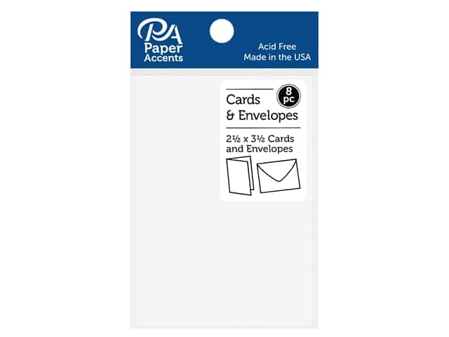Paper Accents Blank Card & Envelopes - 2 1/2 x 3 1/2 in. - White 8 pc.