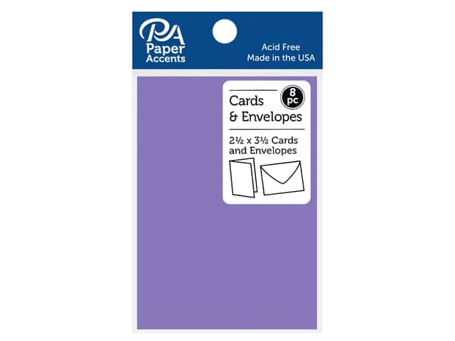 Paper Accents Blank Card & Envelopes - 2 1/2 x 3 1/2 in. - Violet 8 pc.