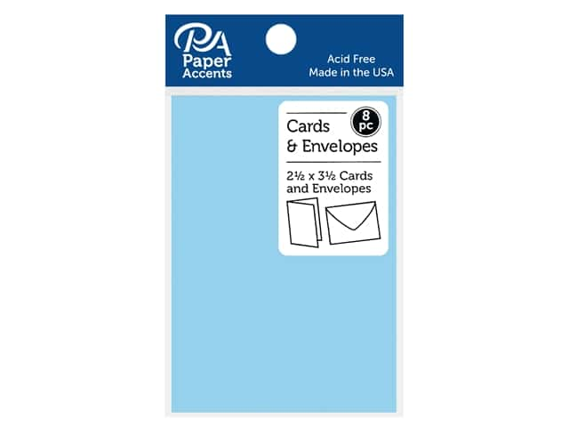 "Paper Accents Card & Envelopes 2.5""x 3.5"" Smooth 65lb 8pc Blue Frost"