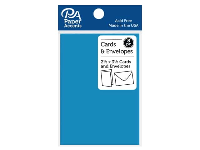 "Paper Accents Card & Envelopes 2.5""x 3.5"" Smooth 65lb 8pc Cyan"