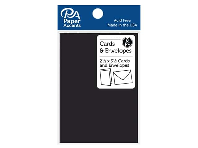 Paper Accents Blank Card & Envelopes - 2 1/2 x 3 1/2 in. - Deep Black 8 pc.
