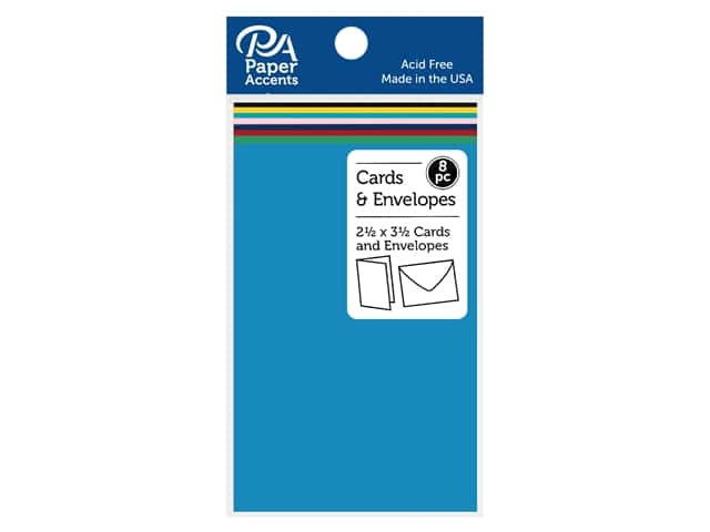 "Paper Accents Card & Envelopes 2.5""x 3.5"" Smooth 65lb 8pc Assorted"