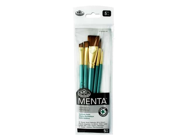 Royal Brush Set Menta Synthetic Sable Acrylic Shader 5pc