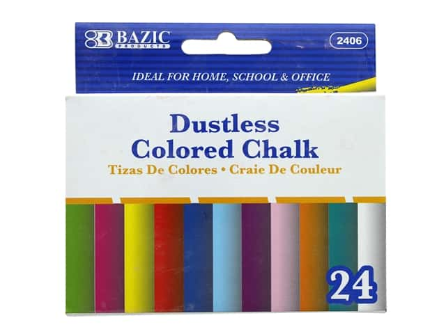 Bazic Basics Dustless Colored Chalk 24pc