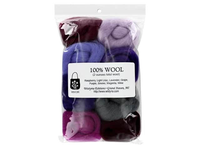 Wistyria Editions 100% Wool Roving 8 pc Lilacs