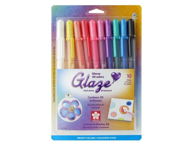 Sakura Glaze 3-D Glossy Ink Pen Set Bright 10 pc.