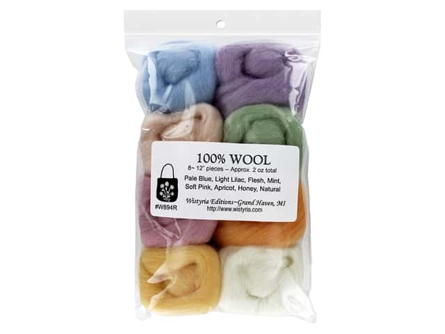 Wistyria Editions 100% Wool Roving 8 pc Soft Pastels