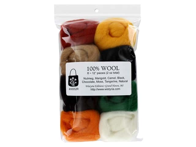 Wistyria Editions 100% Wool Roving 8 pc Natural