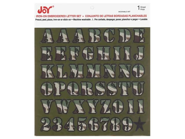"Joy Applique Letter Iron On Alpha 1"" Camo Green"