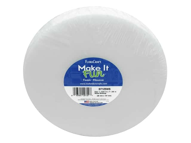 FloraCraft Styrofoam Disc - 7 3/8 x 1 3/16 in. White 1 pc.