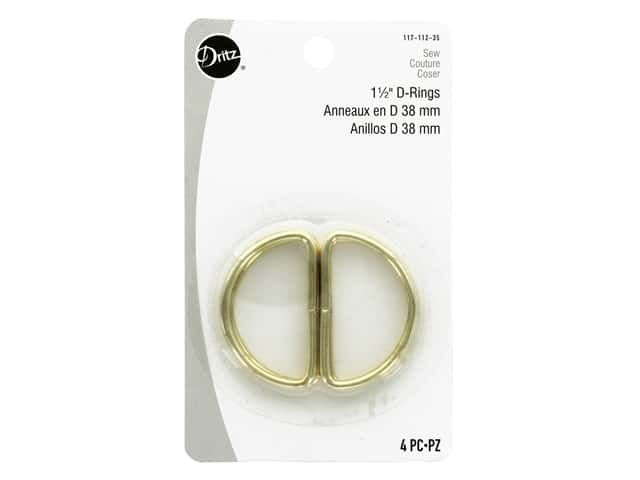 Dritz D Rings 1 1/2 in. Gilt 4 pc.