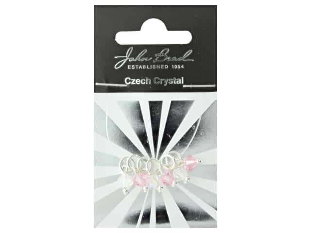 John Bead Czech Bicone Charms 6mm Pretty in Pink