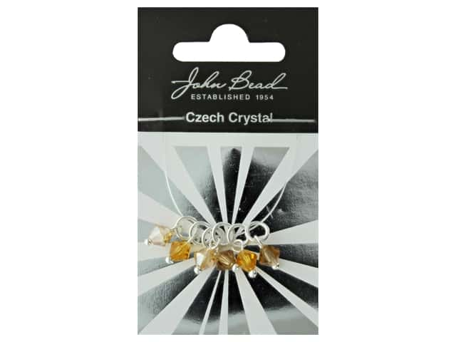 John Bead Czech Bicone Charms 6mm Amber Sunset