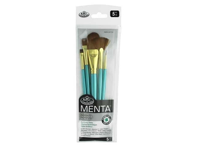 Royal Brush Set Menta Synthetic Sable Acrylic Oval Wash 5pc