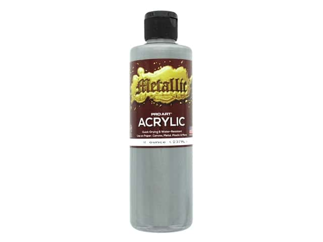 Pro Art Metallic Acrylic Paint 8 oz. Silver