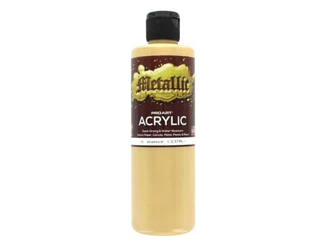 Pro Art Metallic Acrylic Paint 8 oz. Light Gold